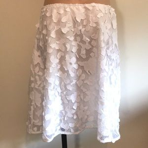 Skirts - White Textured A-Line Skirt